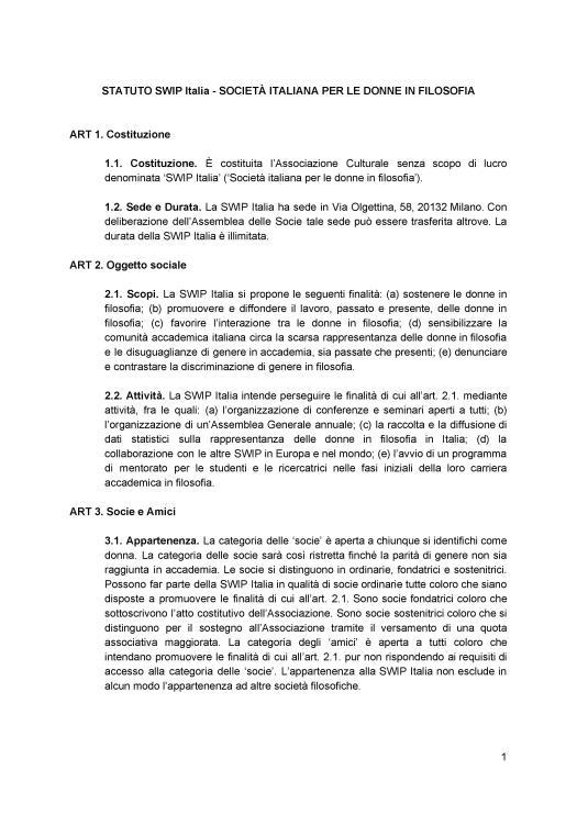 Statuto ratificato SWIP Italia 1