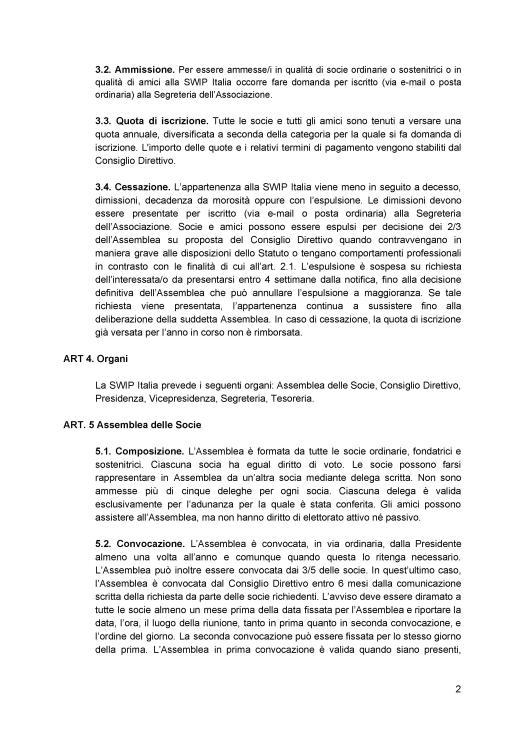 Statuto ratificato SWIP Italia 2